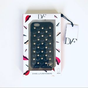 DVF NWT Black Leather w/ Gold Studs iPhone6 Case